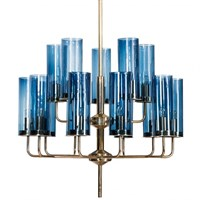 ЛЮСТРА HANS-AGNE JAKOBSSON BRASS & BLUE GLASS TUBE CHANDELIER DESIGNED BY HANS-AGNE JAKOBSSON	IN 1970